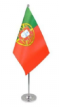 Portugal Desk / Table Flag with chrome stand and base.